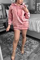 Bescheiden schattig sexy hoodie midi-jurk met lange mouwen AYS5110