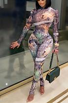 Sexy Tie Dye Pop Art Print Long Sleeve Round Neck Bodycon Jumpsuit CY1291