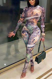 Sexy tie-dye pop-art print bodycon-jumpsuit met lange mouwen en ronde hals CY1291