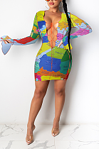 Sexy tie-dye flare jurk met lange mouwen en V-hals met riem CY1272
