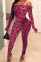 Fashion Casual Leopard At Home High Waist Tight Jumpsuits WXY9008