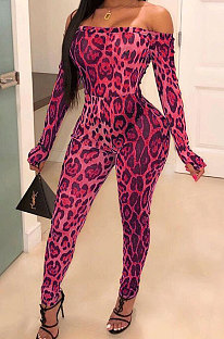 Mode Casual Luipaard Thuis Hoge Taille Strakke Jumpsuits WXY9008