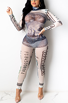 Casual Polyester Tie Dye Pop Art Print Long Sleeve Round Neck Bodycon Jumpsuit CY1287