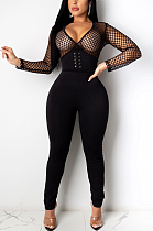 Boho Sexy Mesh Deep V Neck Mesh Hollow Out Bodycon Jumpsuit CCY8778