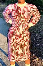 طباعة بوليستر كم طويل رقبة مستديرة فستان طويل فضفاض AMM8292