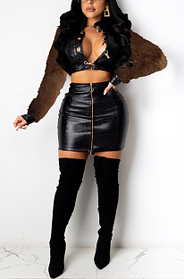 Night Out Sexy Crocodile Graphic Long Sleeve Above Knee / Short Skirt Sets CCY8784