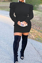 Осенне-зимнее модное уличное платье в соответствии с индивидуальными цветами, флисовое платье с пузырьками и плечевыми рукавами BLE2185