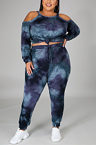Casual Basics Simplee Tie Dye Long Sleeve Strappy Off Shoulder Long Pants Sets CCY1327