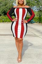 Сексуальное мини-платье с длинными рукавами и открытыми плечами в полоску SH7225