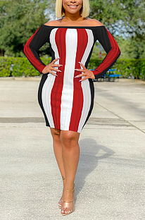 Sexy Striped Long Sleeve Off Shoulder Spliced Mini Dress SH7225
