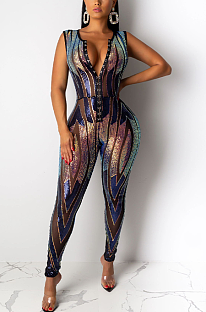 Night Out Sexy Pailletten Ärmelloser Hollow Out Bodycon Jumpsuit CCY8178
