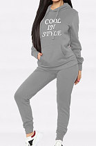 Casual Long Sleeve Embroidered Letter Hooded Hoodie Wool Two-Piece YMT6116