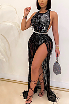 Night Out Sexy Sequins Sleeveless Round Neck Hollow Out Split Hem Long Dress CCY8780