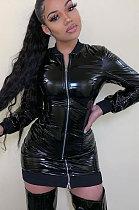 Fashion Mirror Surface All Play Кожаная юбка с длинным рукавом на молнии DressML7398