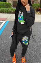 Cute Sporty Animal Graphic Cartoon Graphic Long Sleeve Hoodie Long Pants Sets OH8007