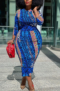 Lässig Modest Pop Art Print Langarm Langarm Rundkleid Langes Kleid CCY1324