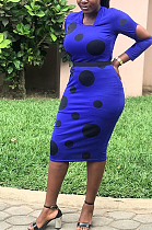 فستان مثير منقط بأكمام طويلة ومزين بتفاصيل منقط SH7907