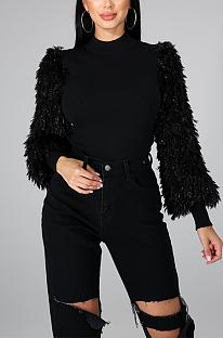 Suéteres bonitos de tweed de manga comprida de gola alta CCY8772