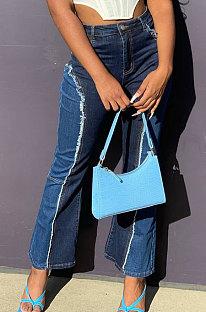 Waschen Gespleißte Farbe Matching Boot Sexy Jeans Lange Hose LA3230