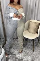 Sexy Long Sleeve Off Shoulder Contrast Binding Ruffle Tee Top Long Pants Sets K2063