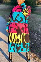 طباعة كم طويل رقبة مستديرة فستان طويل فضفاض AMM8291