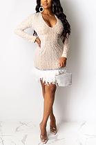 Сексуальное мини-платье с длинным рукавом и круглым вырезом Night Out CCY8222