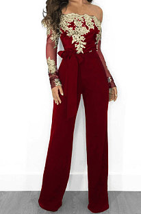 One Word Led Off Shoulder Embroidered Sexy Wide Leg Jumpsuits CCY8064