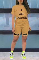 Повседневная футболка с короткими рукавами и шортами с круглым вырезом и буквами OH3001
