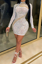 Fashion Hot Drilling Sexy Perspectivity Net Yarn Bubble Bead Dress CCY8804