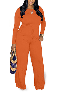 Casual Basics Simplee Long Sleeve Round Neck Waist Tie Wide Leg Jumpsuits MOM5059