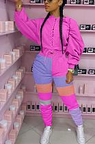 Conjuntos de calças compridas modestos sexy de manga comprida com cinto auto-emendado manga longa MOM5056