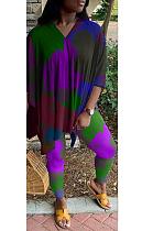 Casual Basics V Neck Contrast Panel Long Pants Sets MOM5052