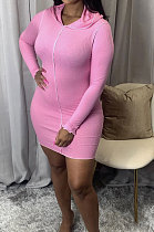 Fashion Pure Color Package Hip Skirt Long Sleeve Mid Waist Socket Head Dress WY6717