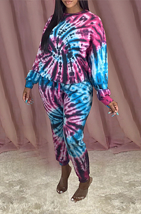 Casual Tie Dye Pop Art Print Long Sleeve Round Neck Tee Top Long Pants Sets OH3775