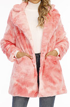 Tie Dye Long Sleeve Impressão Multicolor Loose Fur Villi Coat A8585