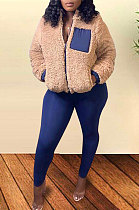 Winter Spliced Plush Coat Pencil Pants Two Pieces Women Sets FM6175