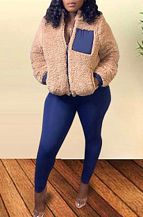 Winter Spliced Plush Coat Pencil Pants Two Pieces Women Sets FM6175