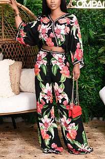 Casual Sexy Floral Long Sleeve V Neck Spliced Tee Top Wide Leg Pants Sets OH3776