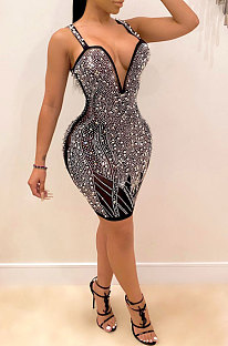 Sexy Sling Hot Drilling Bubble Bead V Neck Club Party Dress CCY8697