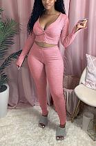 Sexy Split Long Sleeve  Cardigan Long Pants Sets MMG8033
