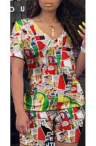 Повседневная футболка с короткими рукавами и v-образным вырезом с рисунком из мультфильмов, шорты, прямые брюки, комплекты OH3558