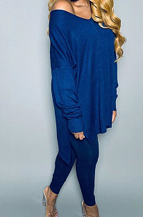 Pure Color Slotted V Neck Long Sleeve Long Pants Sets OQX3779