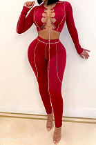 Fashion Casual Bind Sexy Hollow Out Long Sleeve Two-Piece MDF5185