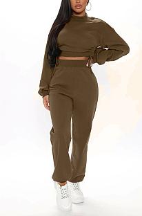 Lässige Langarm-Rundhalsausschnitt mit langen Ärmeln Fluffing Crop Top Long Pants Sets MMG8038