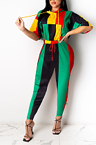 Casual Sporty Colorblock Half Sleeve Spliced Waist Tie Tee Top Long Pants Sets MMG1020