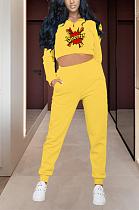 Casual Cartoon Graphic Long Sleeve Crop Top Long Pants Sets MMG1016
