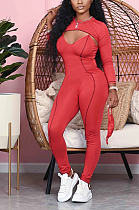 Navy Sexy Polyester Long Sleeve V Neck Spliced Bodycon Jumpsuit MMG1028
