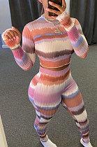 Fashion Womenswear Rib Couleur à manches longues Casual Sets WA7106
