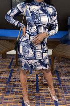 Vestido Torre Eiffel de manga comprida com decote alto YYZ851