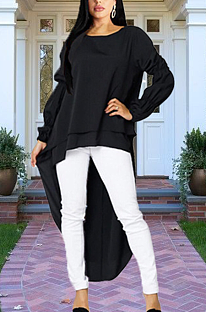 Elegant Bubble Long Sleeve Round Neck Peplum Top MMG1005